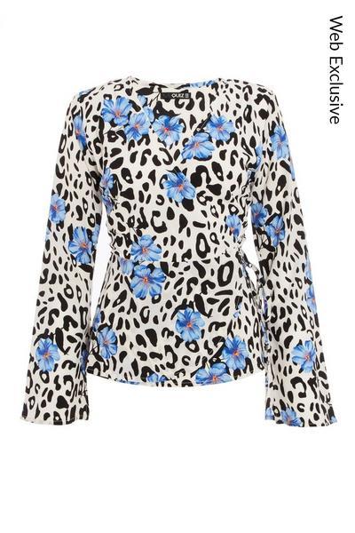 Blue Floral & Animal Print Peplum Top